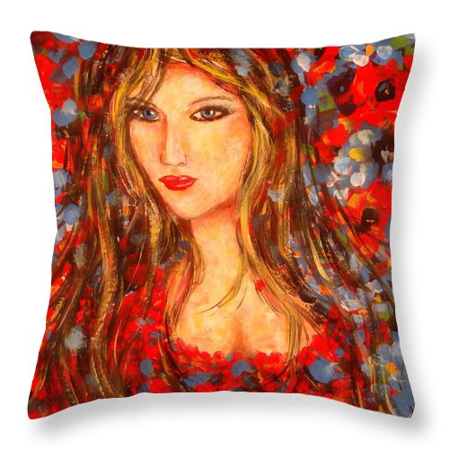 Portrait Throw Pillow featuring the painting Valentina by Natalie Holland