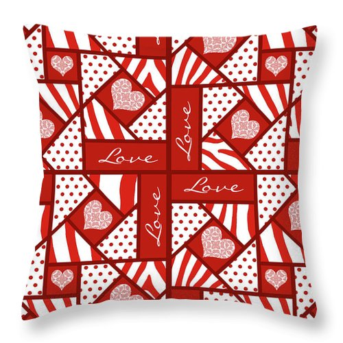Valentine 4 Square Quilt Block Throw Pillow featuring the digital art Valentine 4 Square Quilt Block by Methune Hively