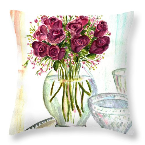 Roses Throw Pillow featuring the painting Valentines Crystal Rose by Clara Sue Beym