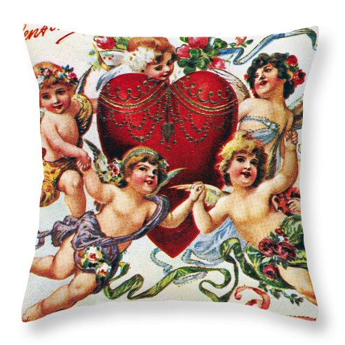 1900 Throw Pillow featuring the photograph Valentines Day Card by Granger