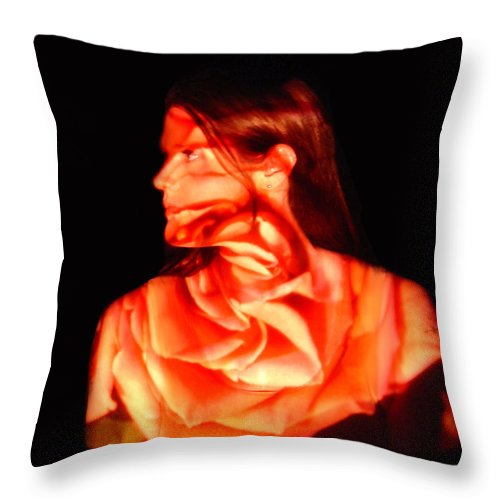 Nature Fusion Portrait Throw Pillow featuring the photograph Valerie by Arla Patch