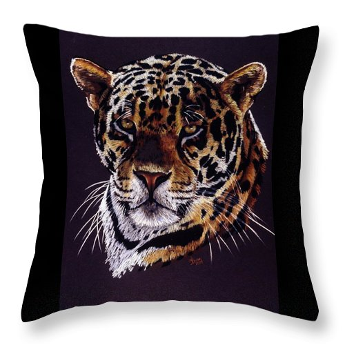 Jaguar Throw Pillow featuring the drawing Valiant by Barbara Keith