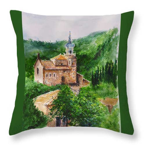 Valley Throw Pillow featuring the painting Valldemossa Pleine Air Painting Comp. by Lizzy Forrester