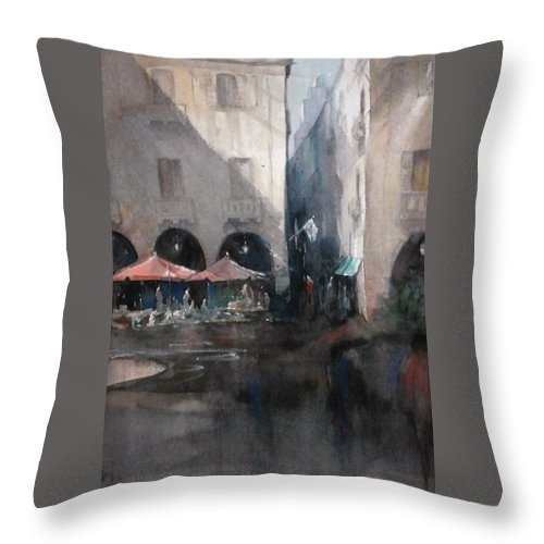 Watercolour Throw Pillow featuring the painting Valletta by Diane Agius Calleja