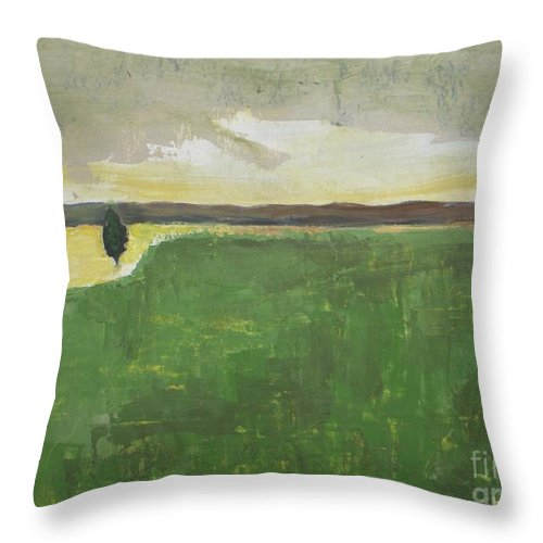 Landscape Throw Pillow featuring the painting Valley Carpet by Valley Carpet