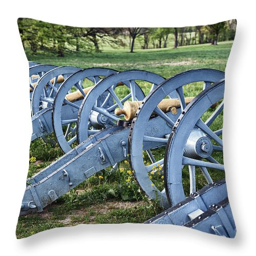 American Revolutionary War Throw Pillow featuring the photograph Valley Forge Artillery Park by John Greim