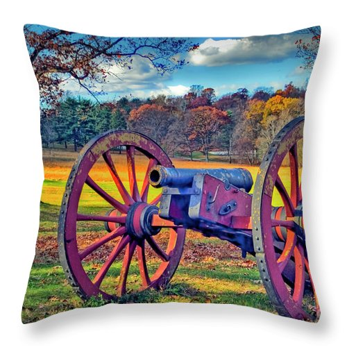Historic Valley Forge Throw Pillow featuring the photograph Valley Forge Canon by David Zanzinger