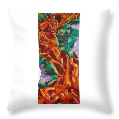 Abstract Throw Pillow featuring the drawing Valley Of Abstraction by Ken Meyer jr