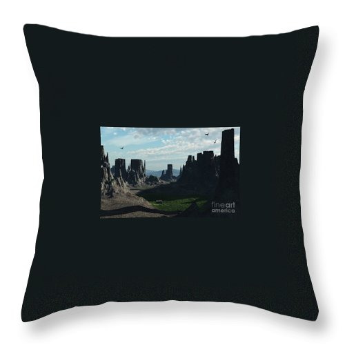 Valley Throw Pillow featuring the digital art Valley Of The Kings by Richard Rizzo
