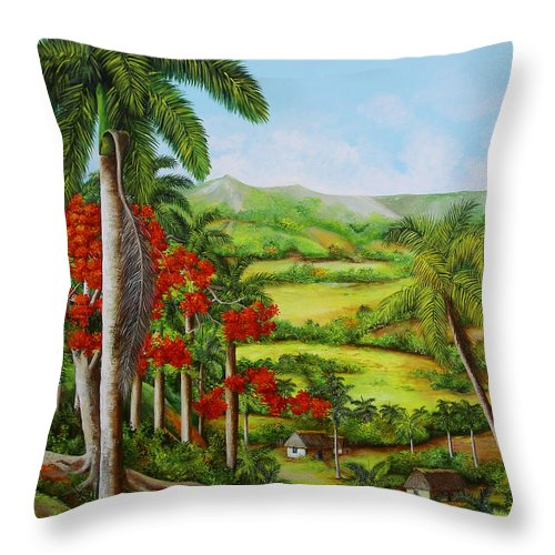 Palms Throw Pillow featuring the painting Yumuri Valley by Dominica Alcantara