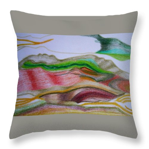 Abstract Throw Pillow featuring the painting Valley Stream by Suzanne Udell Levinger