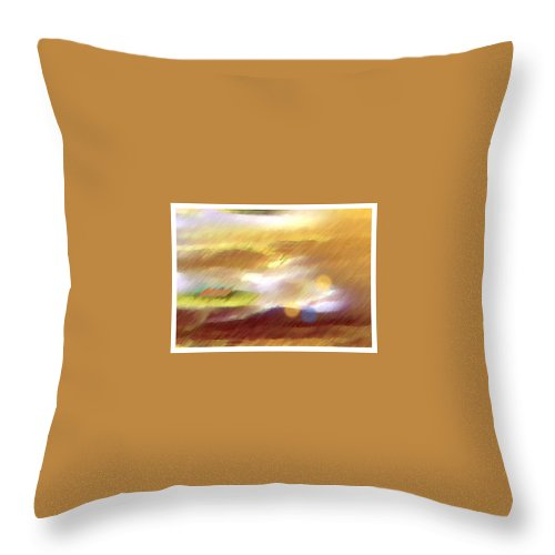Landscape Throw Pillow featuring the painting Valleylights by Anil Nene
