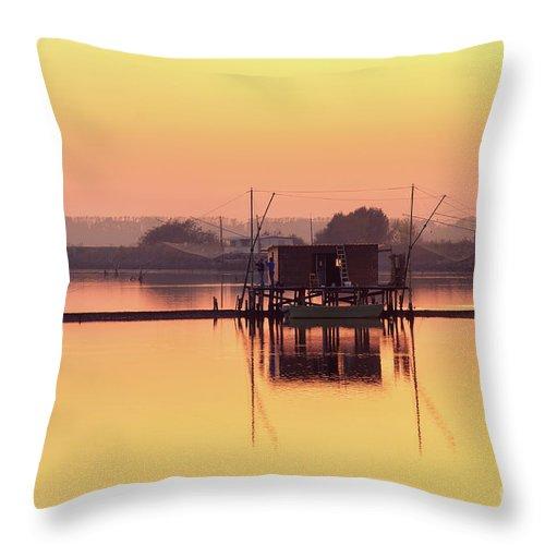Po River Throw Pillow featuring the photograph Valli Di Comacchio Sunset Ferrara Emilia Romagna Italy by Luca Lorenzelli