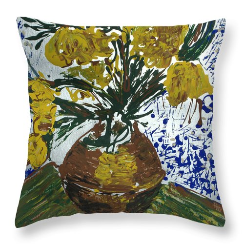 Flowers Throw Pillow featuring the painting Van Gogh by J R Seymour