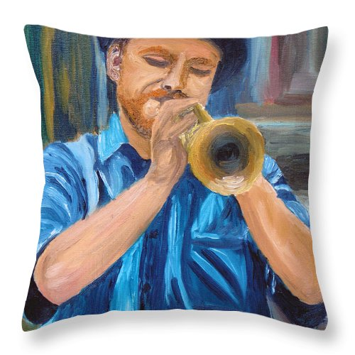 Musician Throw Pillow featuring the painting Van Gogh Plays The Trumpet by Michael Lee