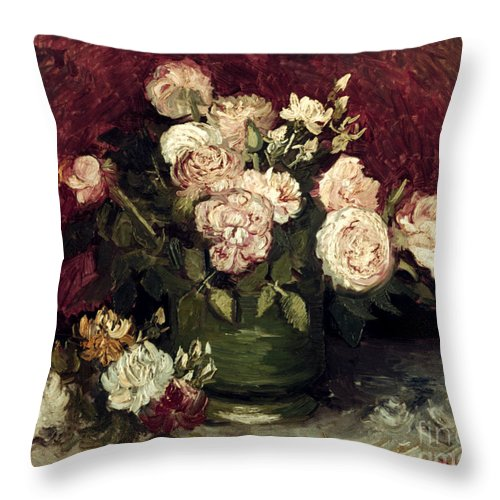 1886 Throw Pillow featuring the photograph Van Gogh: Roses, 1886 by Granger