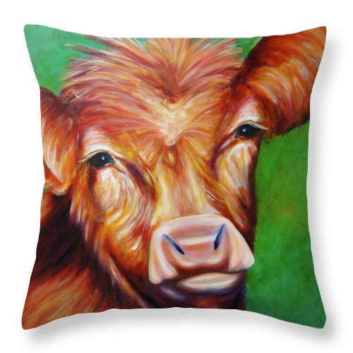 Bull Throw Pillow featuring the painting Van by Shannon Grissom