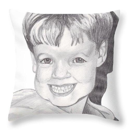 Boy Throw Pillow featuring the drawing Van Winkle Boy by Jean Haynes