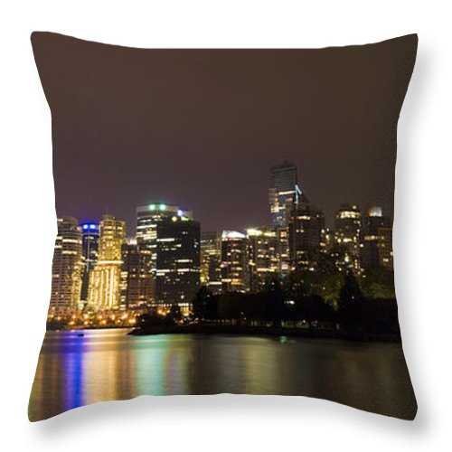Vancouver Throw Pillow featuring the photograph Vancouver By Night by Louise Magno