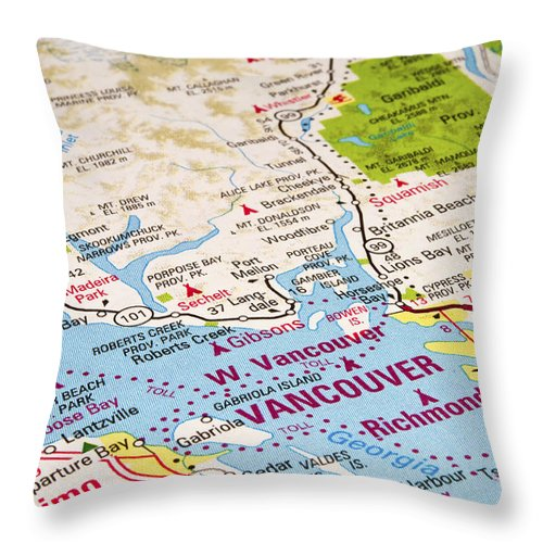 Vancouver Throw Pillow featuring the photograph Vancouver Map by Fernando Barozza