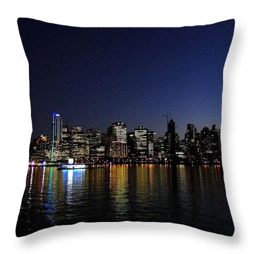 Night Scape Throw Pillow featuring the photograph Vancouver Night Lights by Will Borden