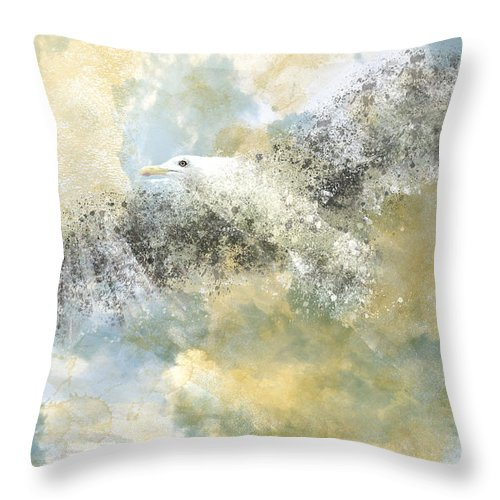 Decorative Throw Pillow featuring the photograph Vanishing Seagull by Melanie Viola