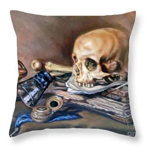 Oil Throw Pillow featuring the painting Vanitas After Pieter Claesz by Hidemi Tada