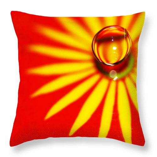 Macro Water Drop Throw Pillow featuring the photograph Variations On A Theme 31 by Rebecca Cozart
