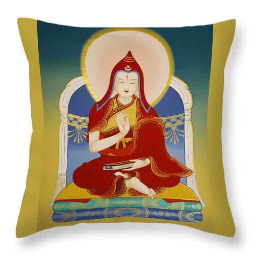 Variochana Lotsawa Throw Pillow featuring the painting Variochana Lotsawa by Sergey Noskov