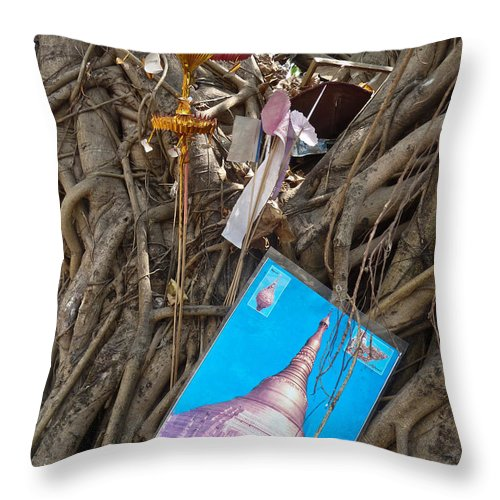 Asia Throw Pillow featuring the photograph Various Religious Items Stuffed I by Jason Rosette
