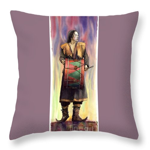 Watercolor Throw Pillow featuring the painting Varius Coloribus Abul by Yuriy Shevchuk