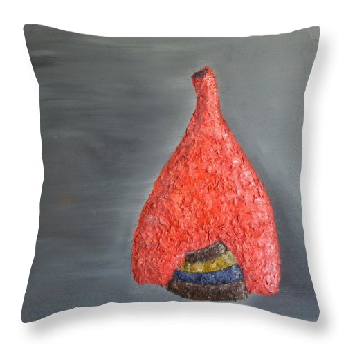 Still Life Paintings Throw Pillow featuring the painting Vase N Bowls by Leslye Miller