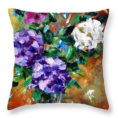 Flowers Throw Pillow featuring the painting Vase Of Color by Debra Hurd