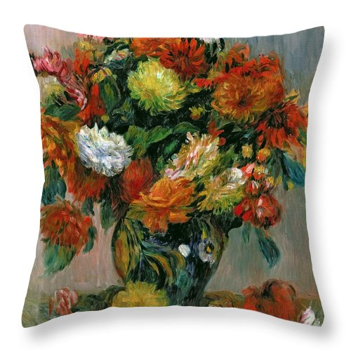 Vase Throw Pillow featuring the painting Vase Of Flowers by Pierre Auguste Renoir