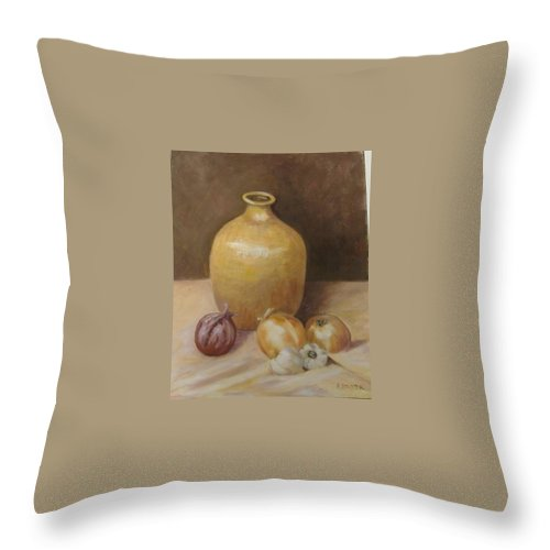 Still Life Throw Pillow featuring the painting Vase With Onion by Pat Snook
