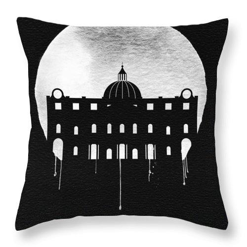 Vatican City Throw Pillow featuring the digital art Vatican City Landmark Black by Naxart Studio
