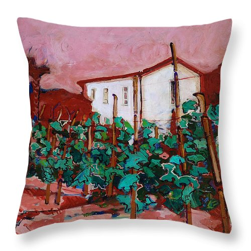 Tuscany Throw Pillow featuring the painting Vecchio Casa Di Pietro by Kurt Hausmann