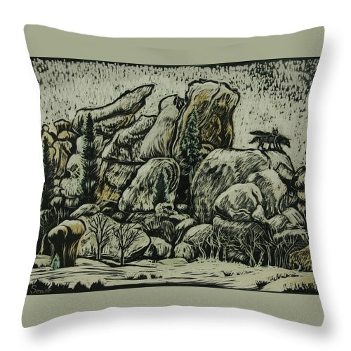Landscape Throw Pillow featuring the drawing Vedauwoo by Dawn Senior-Trask