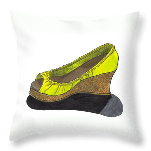 Shoe Throw Pillow featuring the drawing Vegas Shoes by Jean Haynes