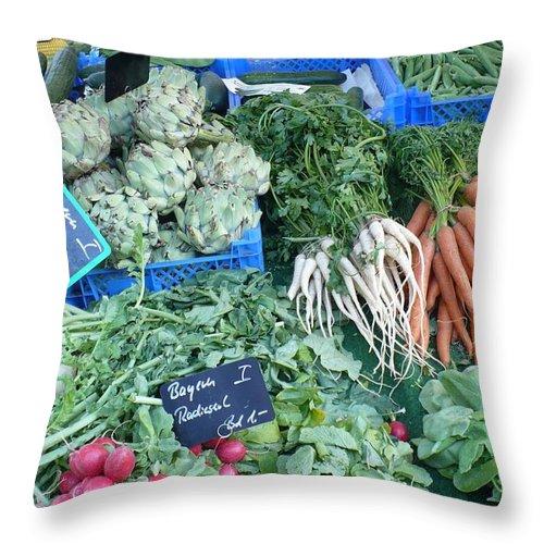 European Markets Throw Pillow featuring the photograph Vegetables At German Market by Carol Groenen