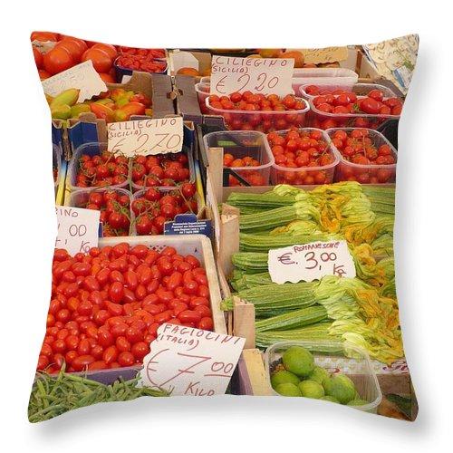 European Markets Throw Pillow featuring the photograph Vegetables At Italian Market by Carol Groenen