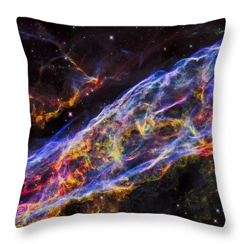 The Universe Throw Pillow featuring the photograph Veil Nebula - Rainbow Supernova by Jennifer Rondinelli Reilly - Fine Art Photography