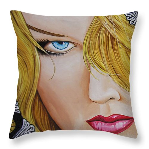 Woman Throw Pillow featuring the painting Veiled Woman by Juan Alcantara