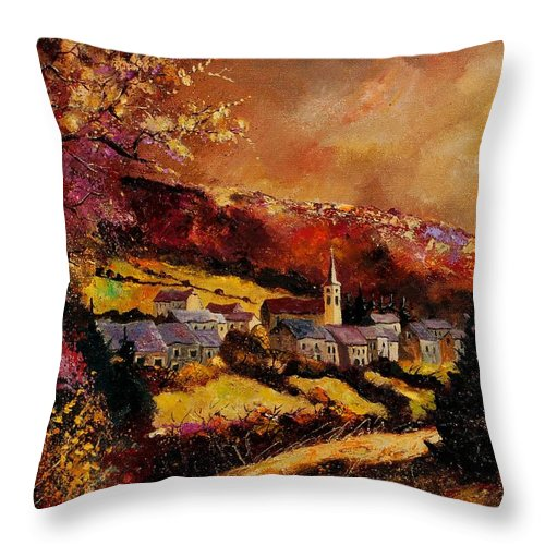 River Throw Pillow featuring the painting Vencimont Village Ardennes by Pol Ledent