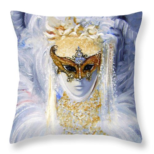 Venice Throw Pillow featuring the painting Venetian Beauty by Leonardo Ruggieri