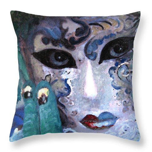 Italy Throw Pillow featuring the painting venetian carneval mask I by Leonardo Ruggieri