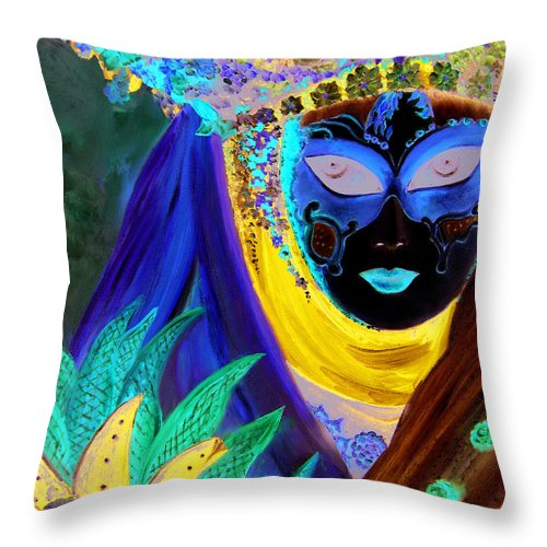 Italy Throw Pillow featuring the painting venetian carneval mask IV by Leonardo Ruggieri