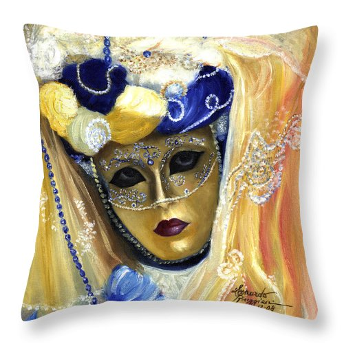 Italy Throw Pillow featuring the painting venetian carneval mask V by Leonardo Ruggieri