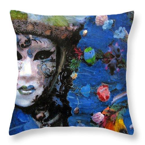 Italy Throw Pillow featuring the painting venetian carnevale II by Leonardo Ruggieri