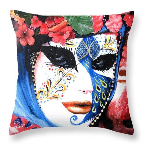 Italy Throw Pillow featuring the painting venetian carnevale mask III by Leonardo Ruggieri